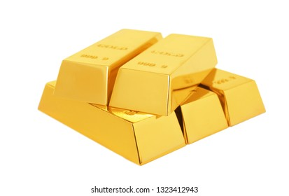 Precious shiny gold bars on white background
