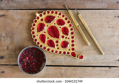 Precious stone Ruby studded Assamese traditional Jewellery
