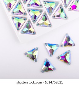 Precious stones crystal color in the pallet on a white background