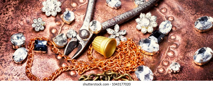 precious stones for jewelry and tools for making jewelry