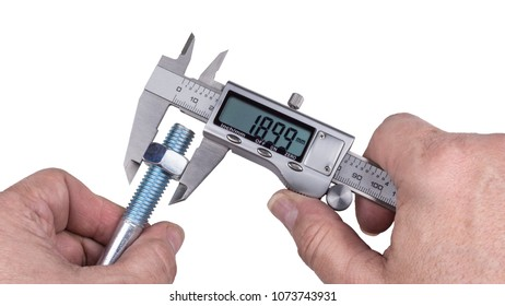 Precise measurement of bolt with nut by digital caliper. Detail of technical expert's hands holding the metallic measuring device and steel part with thread. Isolated on white background.