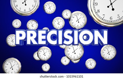 Precision Clocks Precise Time Word 3d Illustration