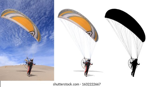 Precision cut of paramotor with details on white background.
