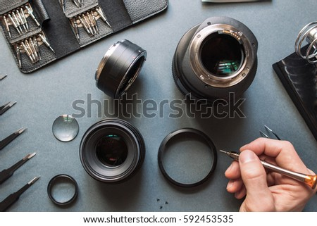 Precision Optical Dslr Lens Service Adjustment Stock Photo (Edit Now