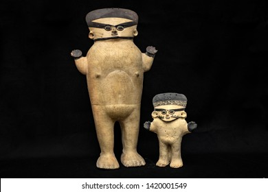 """Pre-Columbian anthropomorphic ceramic often called """"Huaco"""" from Chancay, an ancient Peruvian culture. Pre inca handcrafted pottery piece made by this ancient civilization."""
