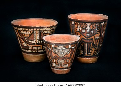 """Pre-columbian ceramic vases called """"Huaco"""" from Nasca ancient Peruvian culture. Pre inca handcrafted pottery piece made by ancient civilization."""