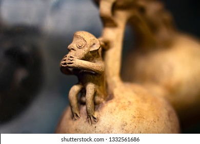 """Pre-columbian monkey ceramics called """"Huacos"""" from Chancay, a Peruvian culture. Private collection of pre inca pottery."""