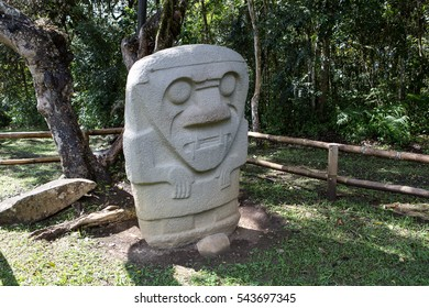 pre-columbian statue at the San Agustin archaeological site in Colombia