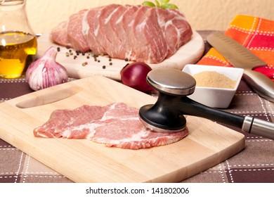 precursors pork meat, preparing burgers
