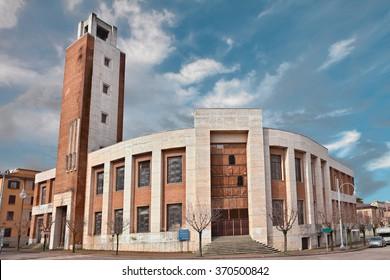 PREDAPPIO, EMILIA ROMAGNA, ITALY - 7 MARCH: the former Casa del Fascio, was made build by Benito Mussolini in 1934, example of italian rationalist architecture. March 7, 2013, in Predappio, Italy