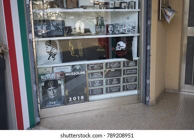 Predappio, Italy - December 22, 2017 : Benito Mussolini memorabilia shop