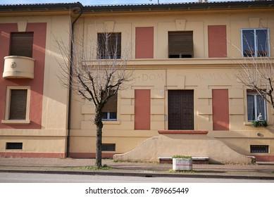 Predappio, Italy - December 22, 2017 : Social housing build by Benito Mussolini in Predappio