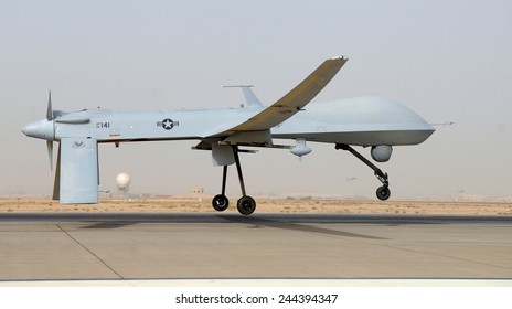 Predator drone an unmanned aircraft takes off from Balad Air Base Iraq Thursday June 12 2008.