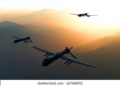 Predator Type MQ1 Drones 3D artwork