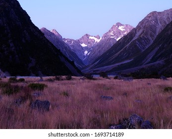 Pre-Dawn Light on Mt D'Archiac at the head of the Forbes River, Canterbury, New Zealand