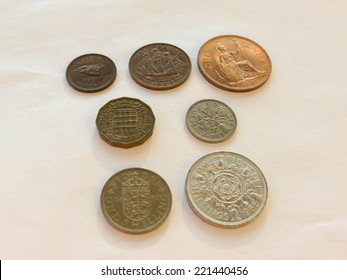 Pre-decimal GBP British Pounds coins (currency of United Kingdom), in use before the Decimal -Day (15 February 1971) - farthing, half-penny, penny, three-pence, six-pence, shilling, two shillings