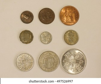 Pre-decimal GBP British Pounds coins - farthing (quarter of 1d), half-penny, penny, three-pence, six-pence, shilling (1s), two shillings (2s), half-crown (2/6), coronation crown (5/-)