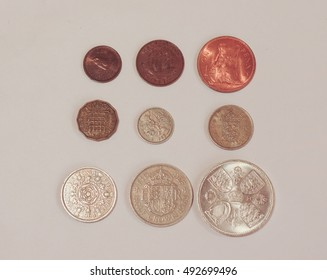 Pre-decimal GBP coins in use until 5 February 1971 - farthing (quarter of 1d), half-penny, penny, three-pence, six-pence, shilling (1s), two shillings (2s), half-crown (2/6), coronation crown (5/-)