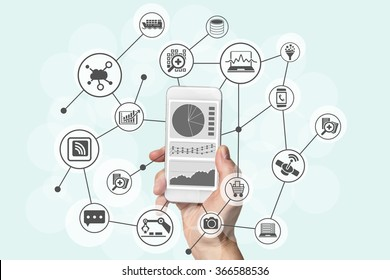 Predictive analytics and big data concept with hand holding modern smart phone to analyze information from marketing, shopping, cloud computing and mobile devices