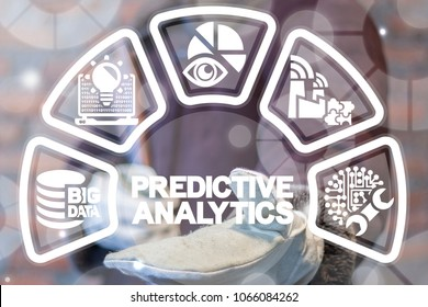 Predictive Analytics Web Big Data Industry 4.0. Smart Industrial Digital Information Analyzing concept. Worker offers predictive analytics text icon on a virtual screen.