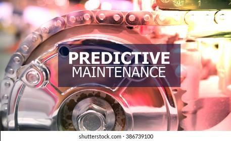 PREDICTIVE MAINTENANCE on the Mechanism of Metal Cogwheels background , color filter image , innovation concept , business concept, business idea