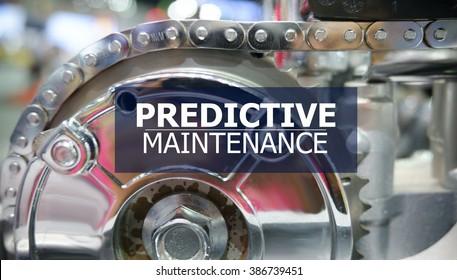 PREDICTIVE MAINTENANCE on the Mechanism of Metal Cogwheels background ,  innovation concept , business concept, business idea