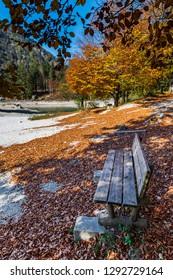 Predil lake dressed in autumn colors. Magical Tarvisio