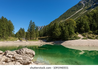 Predil Lake in Julian Alps, Tarvisio, Friuli Venezia Giulia, Italy, Europe