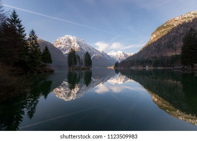 The Predil Lake ( Raibl lake ) is located near the Slovenian border about 10 km south of the town of Tarvisio in Italy. Triglav National Park, Julian Alps.