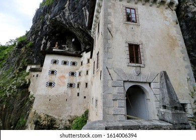 Predjama Castle Castello di Predjama o Castel Lueghi built within a cave near Postojna. Renaissance castle built within a cave mouth in south-central Slovenia, in the historical region of Carniola.