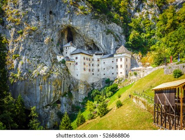 Predjama; castle at the cave mouth in Postojna, Slovenia in springtime
