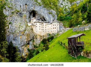 Predjama; castle at the cave mouth in Postojna, Slovenia in springtime