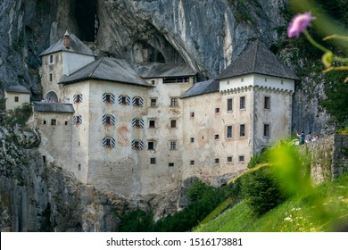 Predjama castle is the largest fortress built in a cave. Located in Postojna, Slovenia Europe. In the background you can see the cliff and in the front grass and flowers