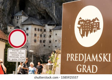 PREDJAMA, SLOVENIA - Aug 7, 2017: The Predjamski Grad or Predjama Castle, a Renaissance fortress near Postojna in the mouth of a cave