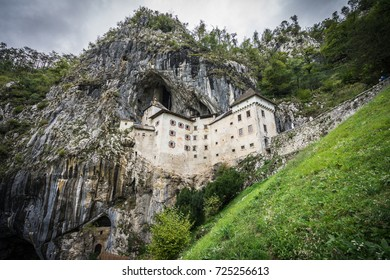 Predjama state castle, Slovenia. Worlds most famous castle build in a cave and rock face.