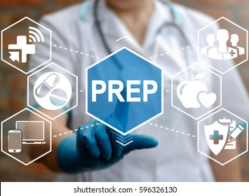 Pre-Exposure Prophylaxis prevent HIV medicine concept. Pharmacy pill research. Doctor touched PREP word icon on virtual medical screen. Medicament prescription web treatment. Health care science