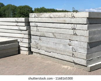 Prefabricated concrete slabs for construction. pile of concrete slabs construction. Pile of paving slabs background concept
