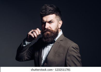 I prefer a barber to a hair stylist. Mens fashion. Man with long beard in business wear. Business as usual. Bearded man after barber shop. Fashion industry. Being a business person.