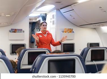 Pre-flight briefing flight attendant Aeroflot Russia. 07.07.2018. Russia. Saint-Petersburg. Pulkovo Airport.