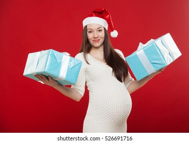 pregnancy Christmas on a red background