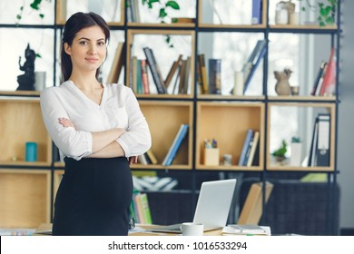Pregnant business woman working at office motherhood standing looking camera confident