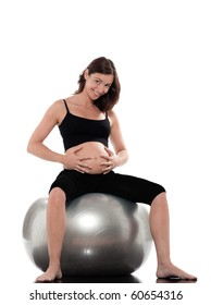 pregnant caucasian woman cheerful sitting on fitness ball isolated studio on white background