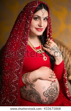 Pregnant Indian Woman Red Saree Mehendi Stock Photo Edit Now