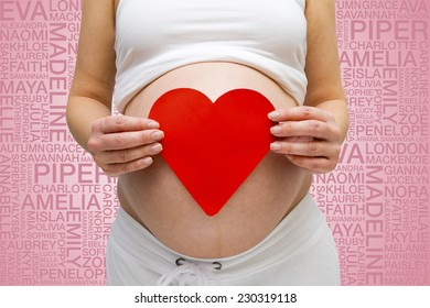 Pregnant Lady & girls names word cloud background
