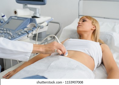 The pregnant lady pacient at ultrasonography examination, close view