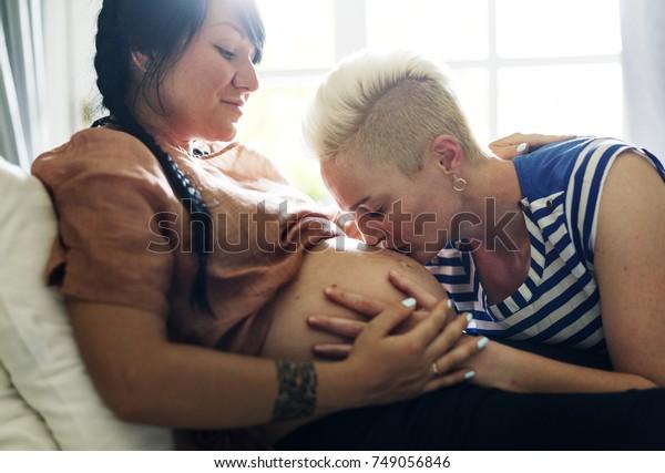 A pregnant lesbian woman