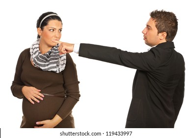 Pregnant sad woman is dismissed by her boss and invited to leave  out isolated on white background
