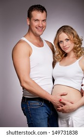pregnant wife and happy husband