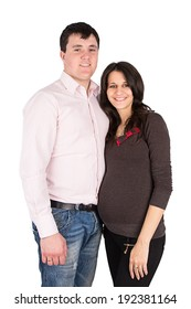 pregnant wife, a woman with her husband isolated on white background