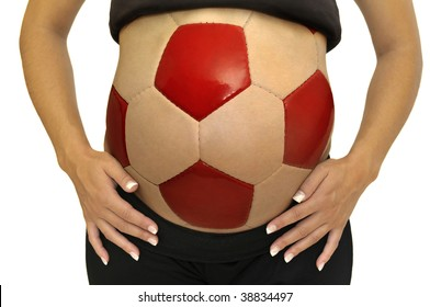 Pregnant woman belly with soccer ball shape isolated in white